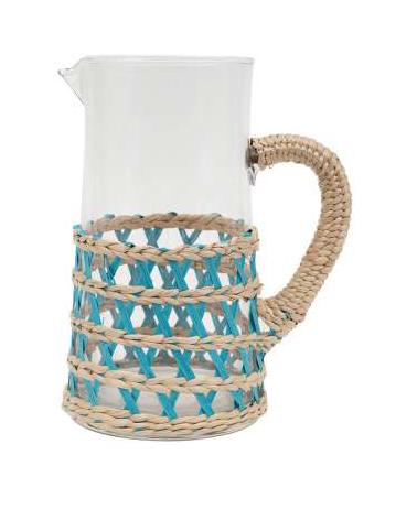 Turquoise lacis pitcher 2l-18.5x12.5xh24.5cm glass + paper -  Côté Table - Inspirations d'Intérieurs