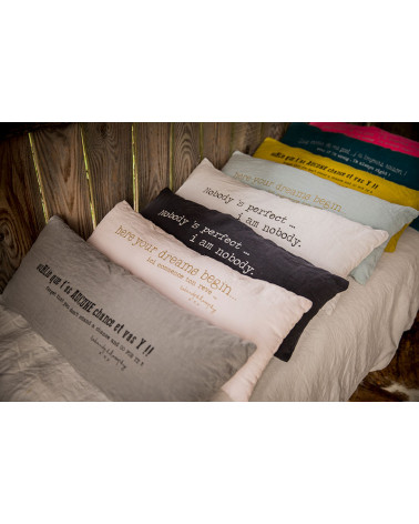 Long message cushion - linen