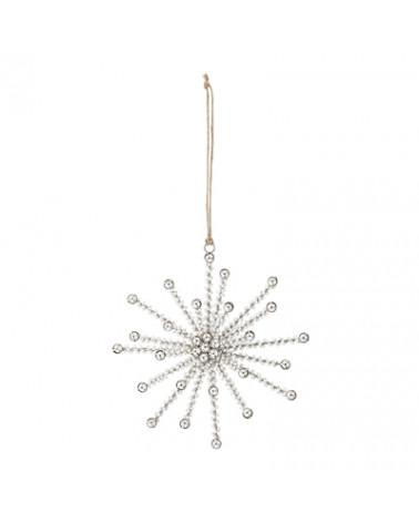 Ornement Noël étoile perles blanches Bloomingville - Inspirations d'Intérieurs