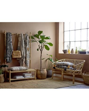 Plaid coton recyclé beige et gris Bloomingville - Inspirations d'Intérieurs