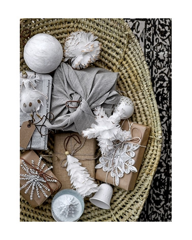 Ornement étoile plumes blanches Bloomingville - Inspirations d'Intérieurs
