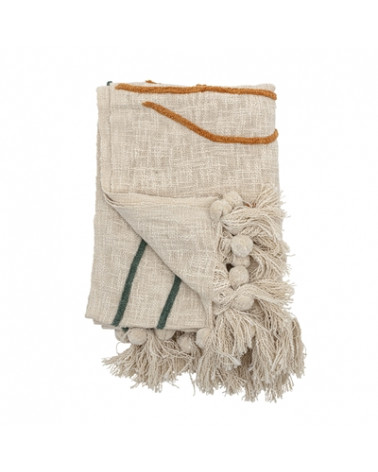 Throw, Recycled Cotton yellow Bloomingville - Inspirations d'Intérieurs
