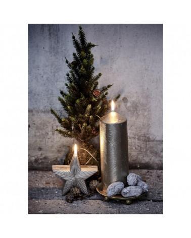 Candle déco H11 cm Star desing silver- Lene Bjerre - Inspirations d'Intérieurs