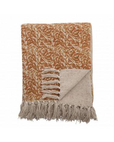 Plaid coton recyclé Throw Brown -  Bloomingville - Inspirations d'Intérieurs
