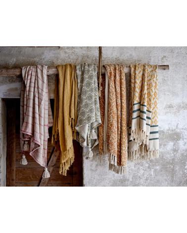 Plaid coton recyclé Jaune et Vert - Bloomingville - Inspirations d'Intérieurs