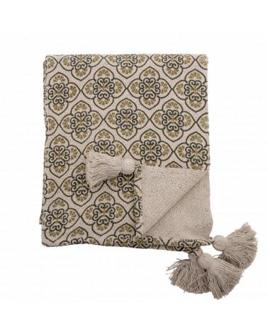 Plaid coton recyclé Vert - Bloomingville - Inspirations d'Intérieurs