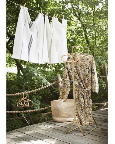 Printed cotton kimono w/ belt sand- Madam Stolz - Inspirations d'Intérieurs