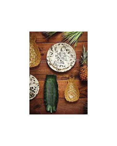 Golden Hellea pineapple dish 35 x 21.5 cm in glass - Côté Table