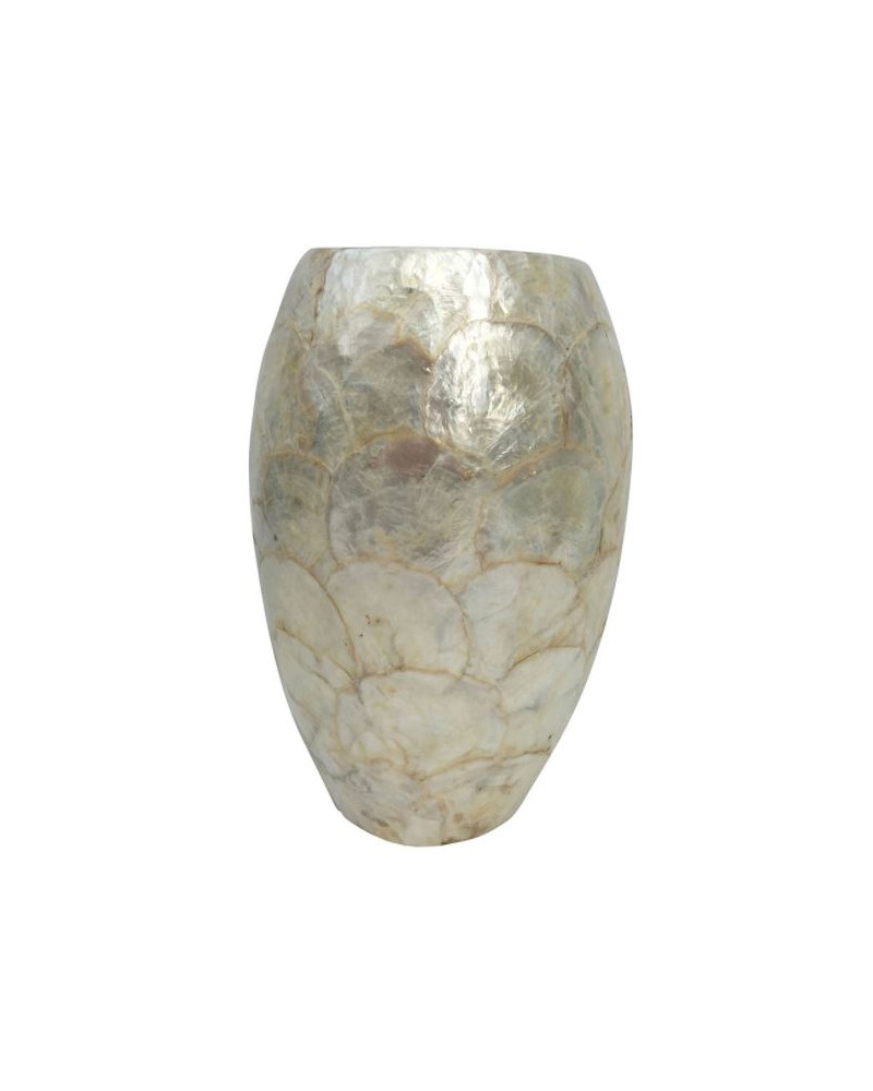 White mother-of-pearl ceramic and shell vase D21 cm - Côté Table