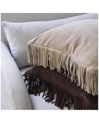 Coussin cuir daim naturel beige - Blanc d'Ivoire - Inspirations d'Intérieurs