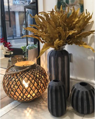Aman round black textured glass vase - Blanc d'Ivoire