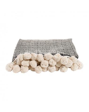 Plaid jeté pompon 150x130 cm noir coton - Sema Design - Inspirations d'Intérieurs