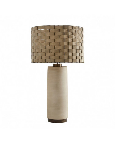 MAEL lamp and its beige suede lampshade - Blanc d'Ivoire - Inspirations d'Intérieurs